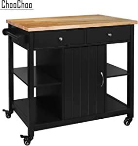 ChooChoo Kitchen Islands on Wheels with Wood Top, Utility Wood Movable Kitchen Cart with Storage and Drawers (Black Wood Top)