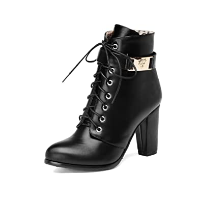 AmoonyFashion Womens Low Top Zipper Soft Material High Heels Pointed Closed Toe Boots