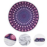 HyChill Large Thick Round Beach Towel, Gigantic Quick Dry Towel, Microfiber with Tassels Ultra Soft 59 inch Oversized Blanket, Multi- Purpose Blanket, Machine Washable, 2018 Towel (Mandala)