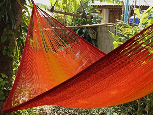 "Hill Tribe XL Hammock, Sundown, The Most Weather Resistant, FAIR Trade Hammock - Material: Very soft and weatherproof triple ACRYLIC yarn 3 x 16/2/2 (MICRO WEAVING) The material is incredible soft, softer then cotton, and can be left outside all summer. Definitely the softest and most comfortable of all weatherproof hammocks. Overall Length: 155"". Bed Length (woven part): 89"". Width: >84"". Weight 2.65lbs - patio-furniture, patio, hammocks - 61yLHfm7nPL -"