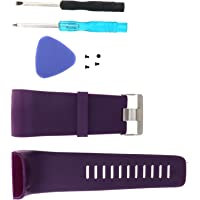 ENET S/L Vervangende Horlogeband Siliconen Band Polsband Armband Compatibel met Fitbit Surge Watch Tracker met Gereedschap, Zwart/Blauw/Paars