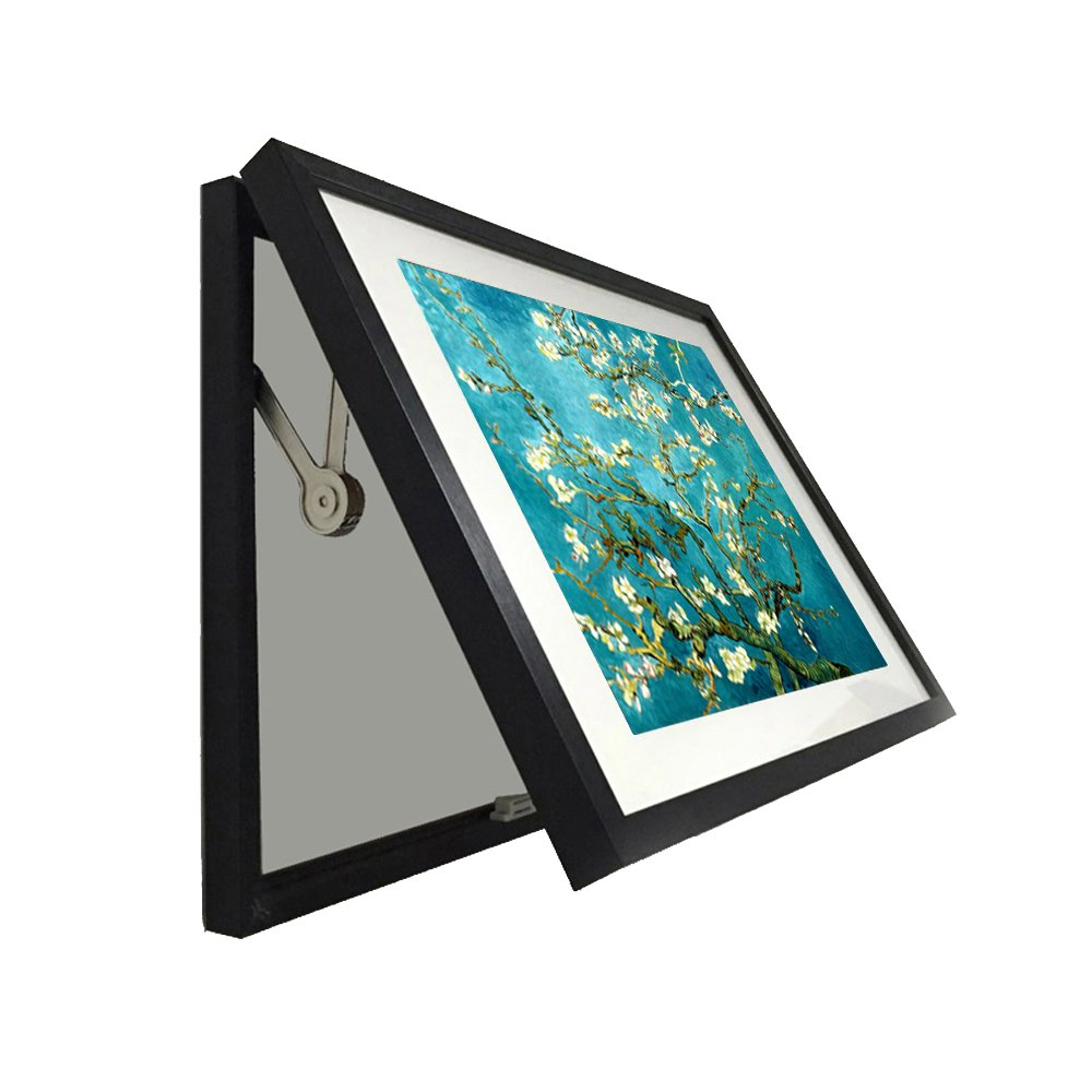 Kreative Arts - Hidden Electrical Switch Box Fashion Blossoming Almond Tree Vincent Van Gogh Classic Art Reproductions Painting Frame for Wall Decor Easy to Hang (M 23x17inch(58x43cm), Black)