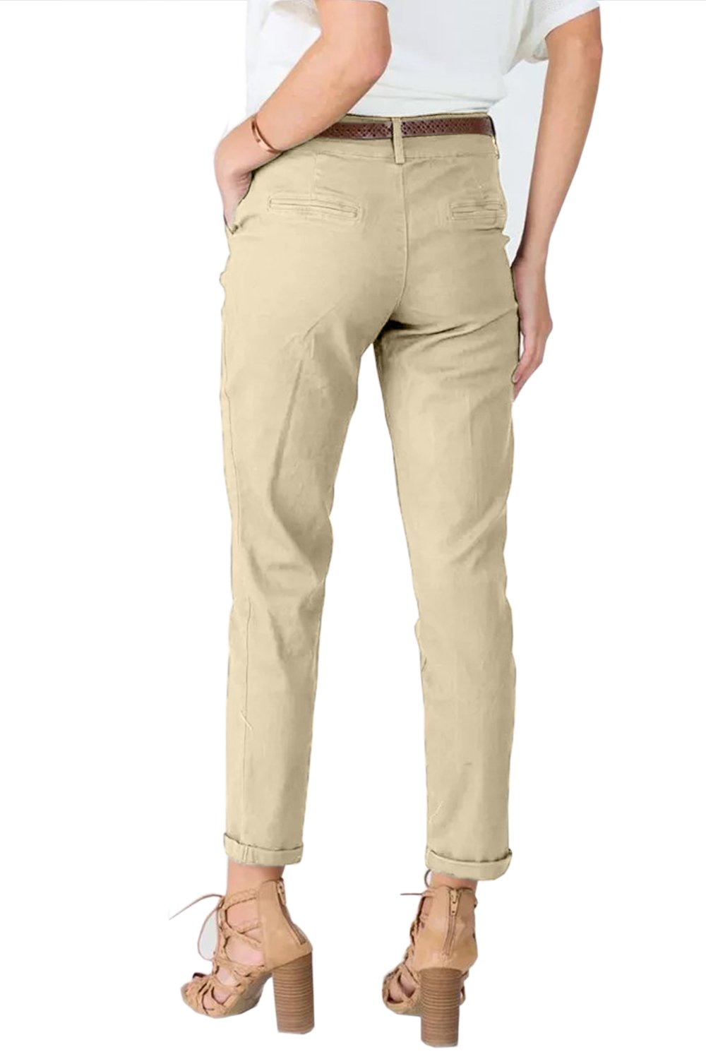 Women's Slimming Straight Leg Pants Casual Cropped Ankle  Trousers 4