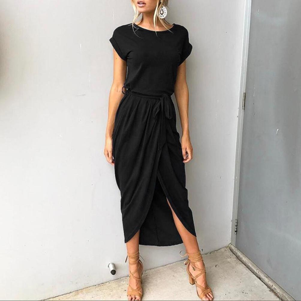 Alixyz Women Boho Long Maxi Dress Solid Color Bandage Split Beach Evening Party Dresses at Amazon Womens Clothing store: