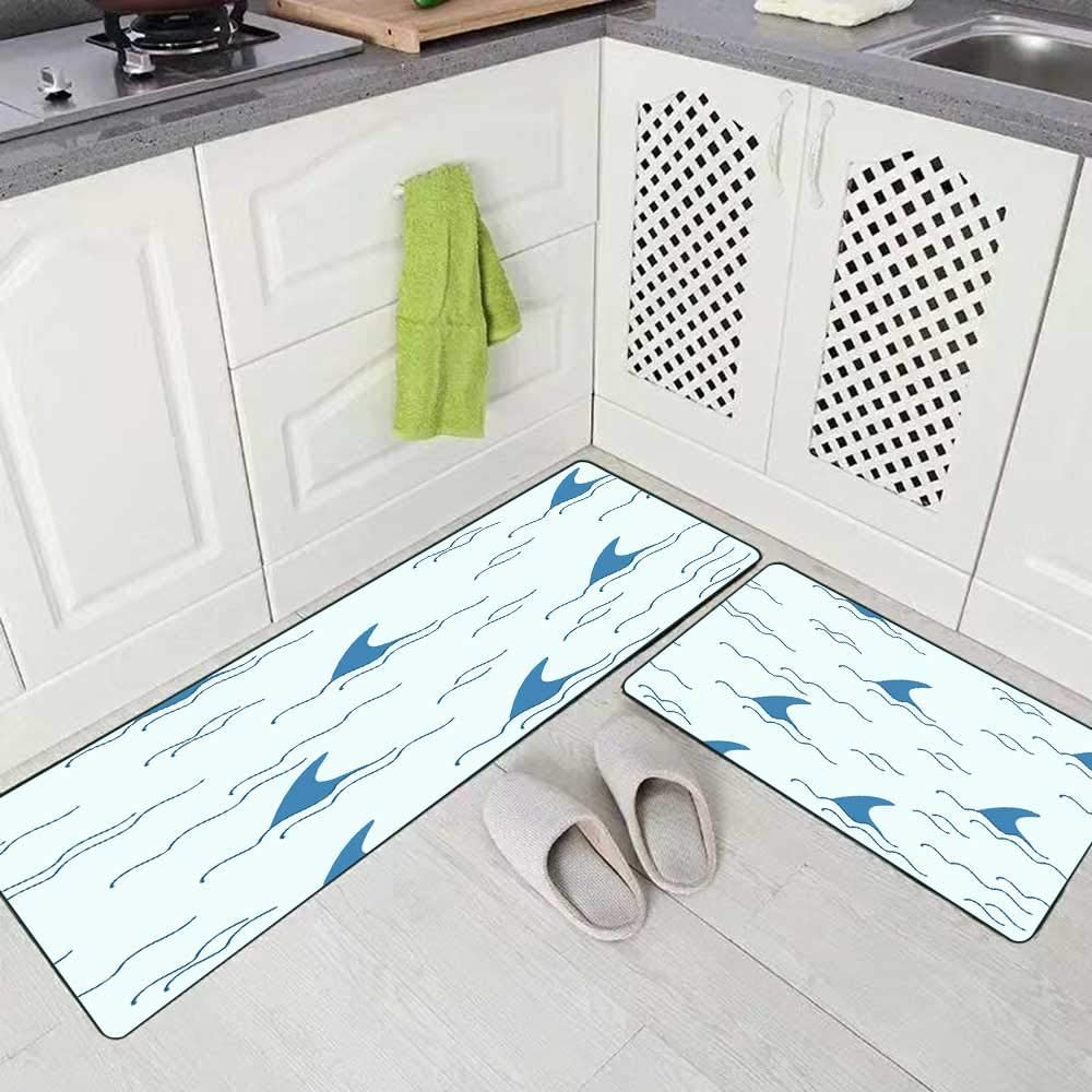 """Kitchen Area Rug,Shorping Kitchen Rugs Washable (17""""X48""""+17""""X24"""") Area Rugs Farm Kitchen Rug Shark Fin Dolphin Whale Ocean Wave Pattern Background in Blue Color Non Slip Kitchen Rug"""