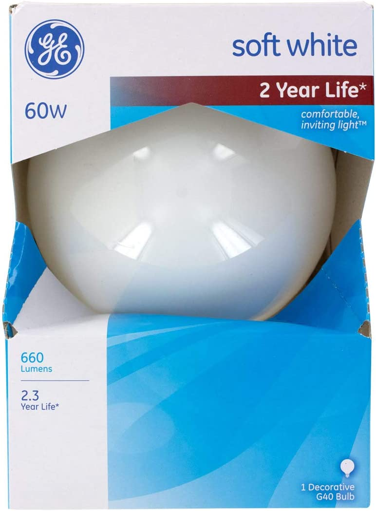 3-Pack, GE Lighting Incandescent Lamps - 60 Watts - 660 Lumens -G40