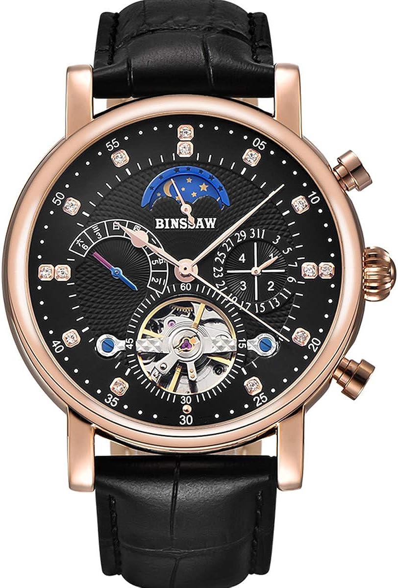 BINSSAW Men Mechanical Watch Fashion Leather Strap Automatic Waterproof Sport Watches Mens Luxury Business Wristwatch