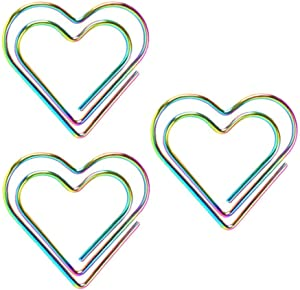 Paper Clip, Heart Shaped Folder for Office School Student Notebook Page Tagging Supplies(3Pcs)