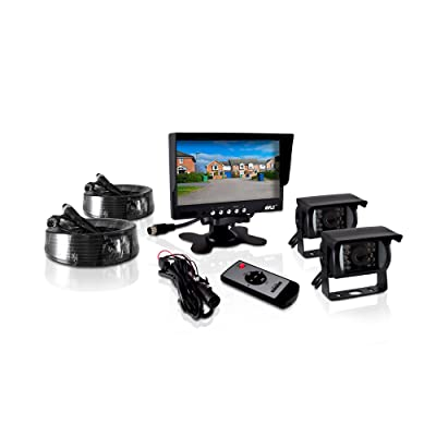 Pyle PLCMTR72 Weatherproof Rearview Backup Camera and Monitor Video System for Bus, Truck, Trailer and Van (2 Cams, 7'' Monitor, Dual DC 12-24V): Car Electronics