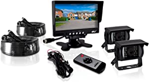 Pyle PLCMTR72 Weatherproof Rearview Backup Camera and Monitor Video System for Bus, Truck, Trailer and Van (2 Cams, 7'' Monitor, Dual DC 12-24V)