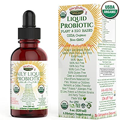 ORGANIC LIQUID PROBIOTICS by MARYRUTH (Plant Based) USDA Certified Organic, Vegan, RAW, Paleo, non-GMO, Highly Potent Live Strain Flora assists digestion & maximum absorption of vitamins/minerals 4oz