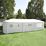 Outsunny Gazebo Canopy Party Tent with Removable Side Walls, 10' x 30', White