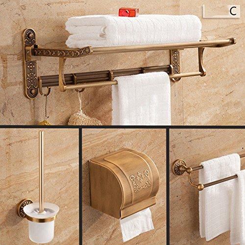 Hlluya toallero antigüedades Adornos tallados empaquetados Racks Rack de Toallas de baño WC Cepillo Kit Cartucho de Papel higiénico, empaquetados Kit G-5: ...