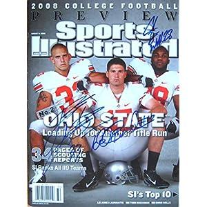 OSU OHIO STATE BUCKEYES Beanie Wells, James Laurinaitis & John Boeckman autographed Sports Illustrated magazine 8/11/08