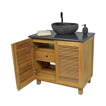 Waschbecken mit unterschrank holz  Wohnfreuden Teak Holz Waschbecken Unterschrank Waschtisch ...