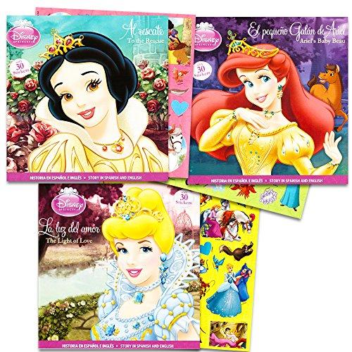 Disney Princess Reading Book Set -- 3 Reading Books with Sti