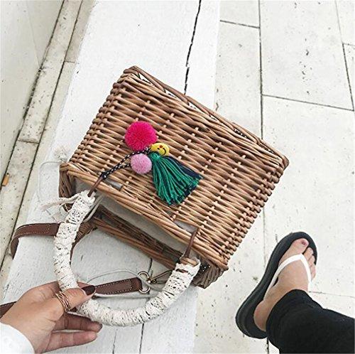 Holiday Basket Rattan ELEGENCE Bag Bag Square Bag Z Versátil De Hombro Handmade Straw Beach Bolso Bag wPq0AqXn