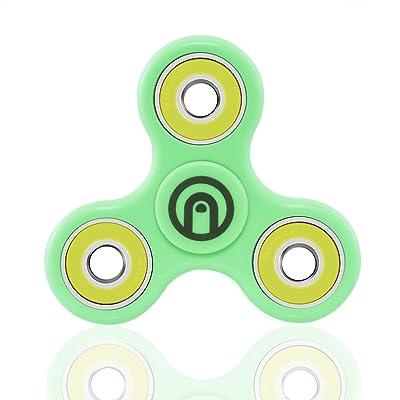 SPIN ME UP / Fidget Spinner / Hand Spinner / Tri-Spinner / Cœur Céramique Noir Haute Qualité / Durée 2 Minutes / Parfait pour Adulte et Enfant (Vert - Jaune)