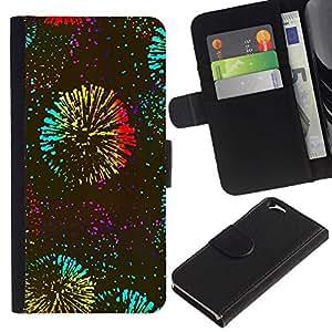 EJOY---La carpeta del tirón la caja de cuero de alta calidad de la PU Caso protector / Apple Iphone 6 / --Años Fireworks Kate Celebración