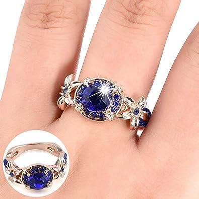 aa00a70bad Buy zkLegencQ Ring, Women Artificial Retro Sapphire Ruby Rhinestones ...