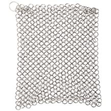 """NAF Imports Heavy-Duty Stainless Steel Chainmail Scrubber for Cast Iron Cookware - 8"""" X 6"""" Dishwashing Tool for Everyday Cleaning and Restoration"""