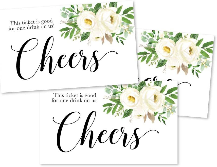 50 White Floral Drink Ticket Coupons for a Free Drink at Weddings, Work Events or Party Bar, One Free Beer Wine Alcohol Soft Drink or Food Vouchers, Flower Cheers Large Drinking Paper Raffle Cards