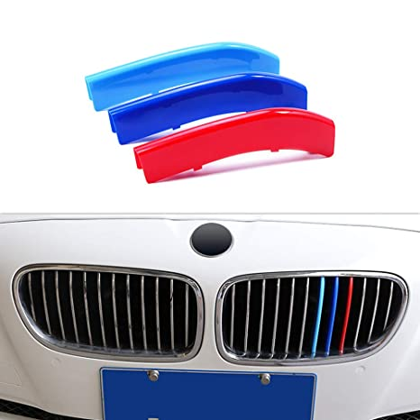 Front Center Grill Grid Grille Cover Trim 3pcs For BMW 5 Series F10 2014-2015