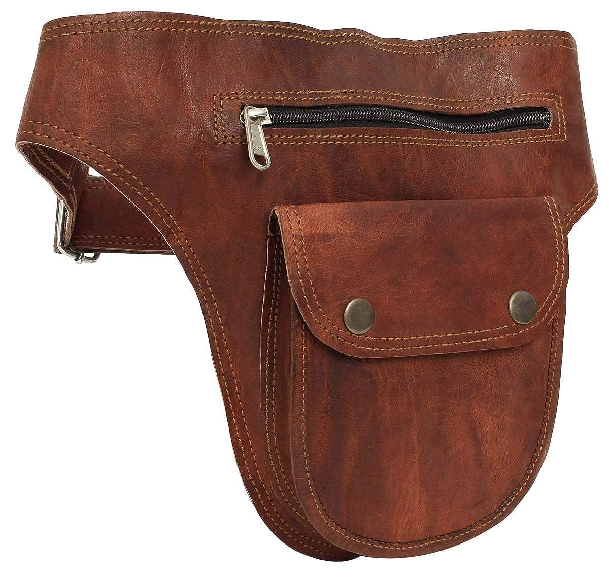"""Sac banane - Gusti Cuir nature """"Don"""" sac ceinture vintage sac à main rétro sac porté ceinture homme femme cuir de chèvre marron G6 S Gusti Leder"""