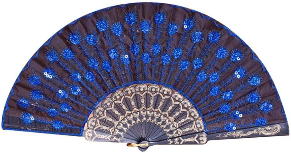 Coohole Chinese Classic Peacock Pattern Folding Hand Held Danc Fan Embroidered Sequin Party Wedding Prom (E)