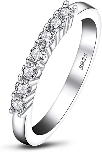0.35 Ct Round Cut Simulated Diamond Half Eternity Anniversary band 14K White Gold Plated