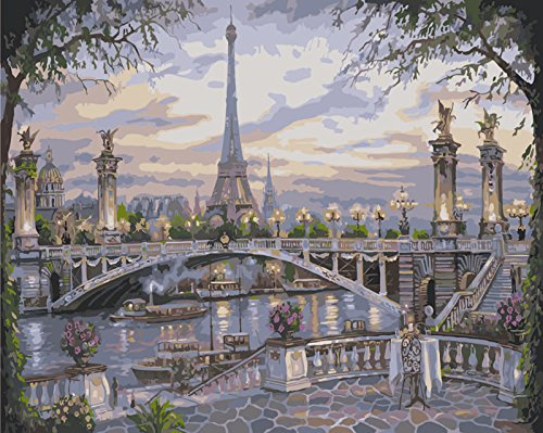 YEESAM ART New DIY Paint by Number Kits for Adults Kids Beginner - Eiffel Tower Bridge Casual Evening 16x20 inch Linen Canvas - Stress Less Number Painting Gifts