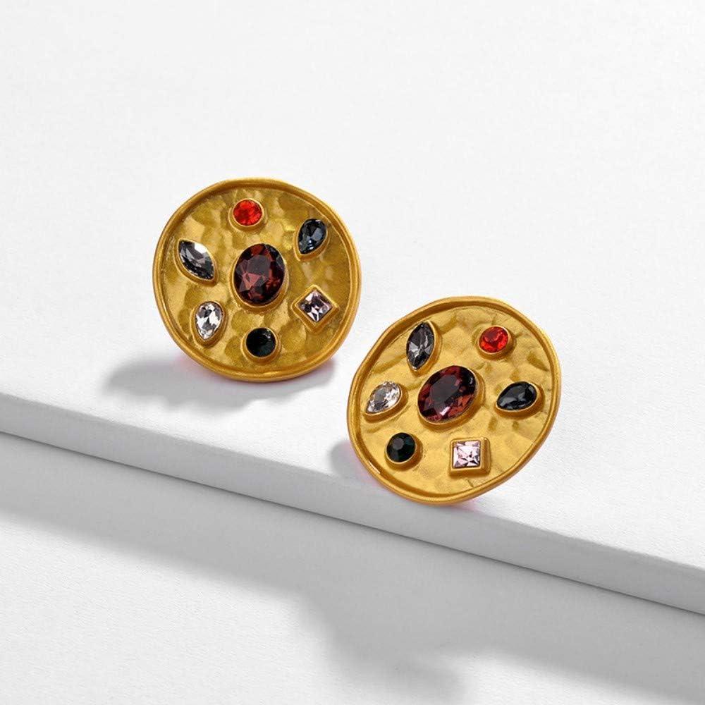 CJMDEH Pendientes Aretes Geométricos Vintade Color Oro Antiguo De Estilo Vintage con Rhinestones Metal Geométricas De Piedras Semi-Preciosas Stud Earrings