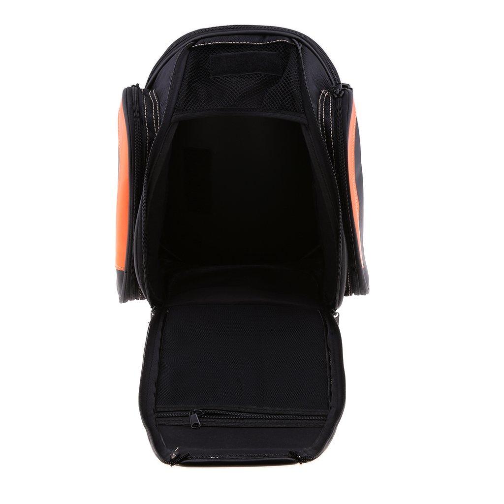 Baoblaze Motorcycle PU Leather Rear Seat Saddle Bag Trunk Touring Luggage Orange Bag