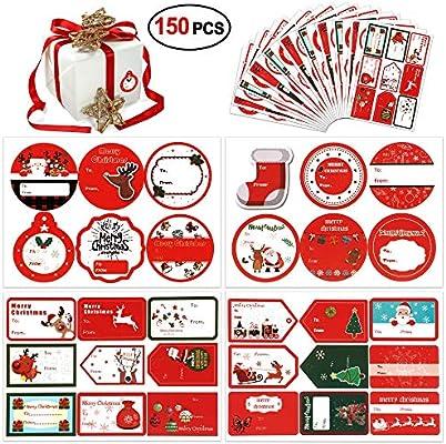 amazon com christmas gift tag stickers 150count konsait self