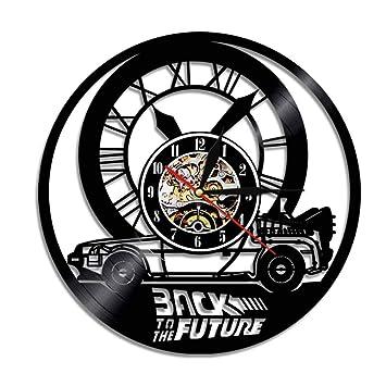 MUZIDP Regreso al Futuro Disco de Vinilo Reloj de Pared,Creativo Movimiento de Cuarzo Silencioso Reloj de Pared,Familia Interior Reloj de Pared Decorativo-A ...
