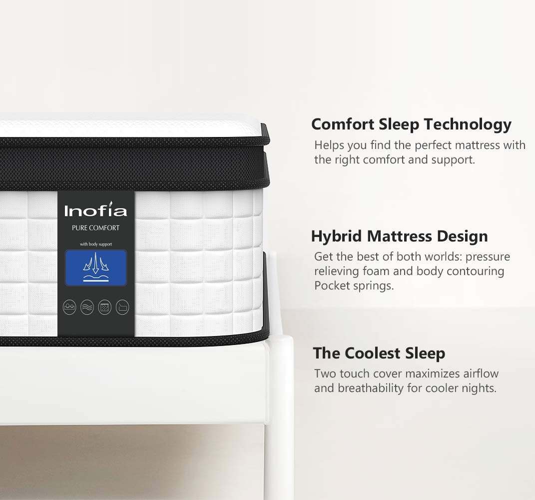 Single Size 10 Inch CertiPUR-US Certified Inofia Responsive Memory Foam Mattress Sleep Cooler with More Pressure Relief /& Support Twin Mattress Hybrid Innerspring Mattress in a Box