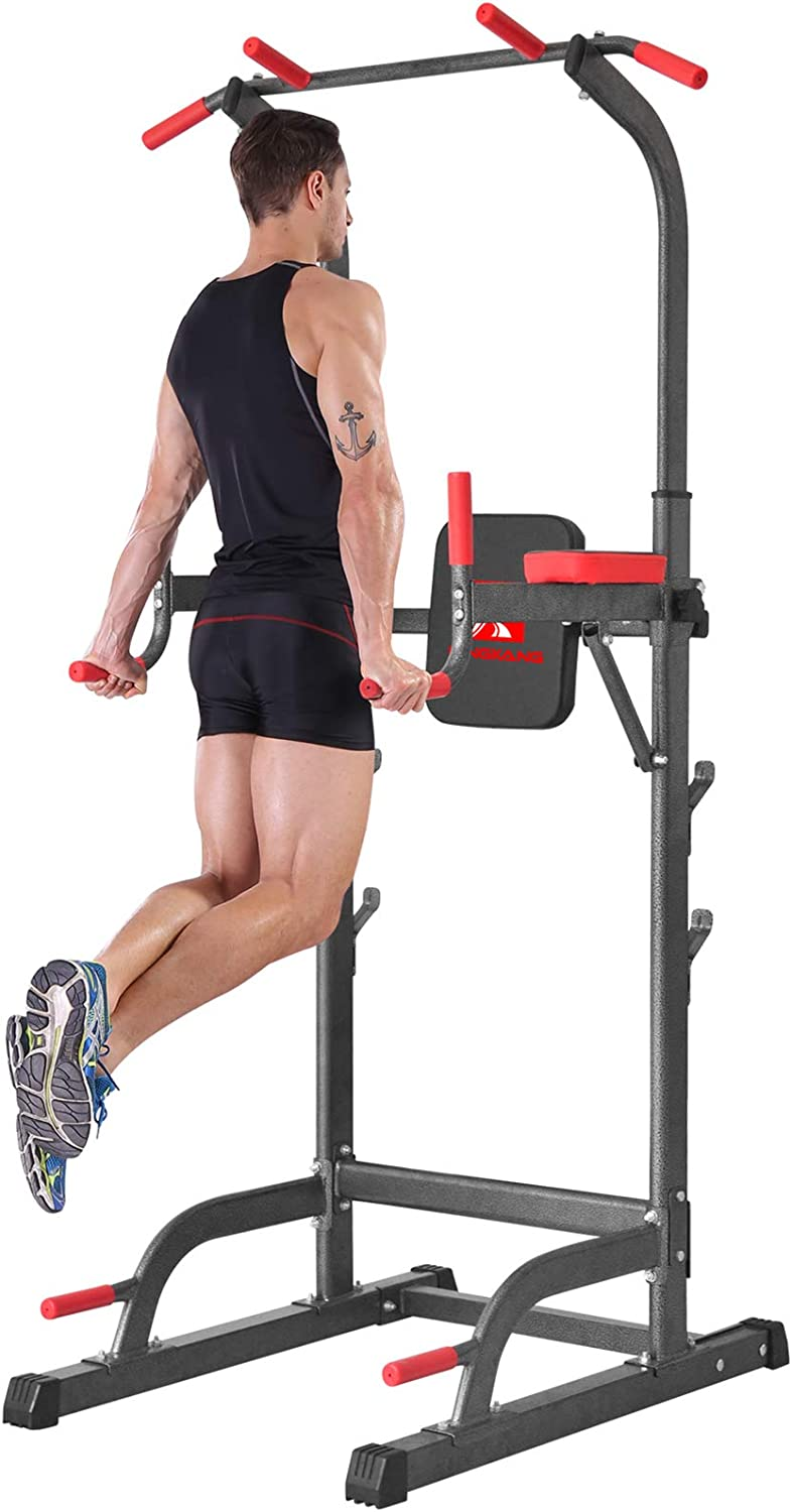 K KiNGKANG Power Tower with Cushion Home Gym Adjustable Height Pull-Up Station Dip Station Work Out Equipment, T05A