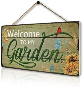 Rustic Garden Signs Vintage Welcome to My Garden Hanging Plaque Moms Dads Herb Plants Welcome Signs by 6''x11.5''
