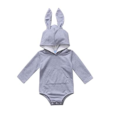 38fd3e2b1f6 Baby Boys Girls Rabbit Ears Romper Newborn Easter Hoodie Jumpsuit Long  Sleeve Solid Outfits Clothes Bodysuit
