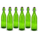 Modern Home 1L/34oz Culaccino Swing Top Round Glass Bottle - Smooth Lime Green - Set of 6