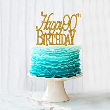 Happy 90th Birthday Cake Topper Gold Acrylic Number 90