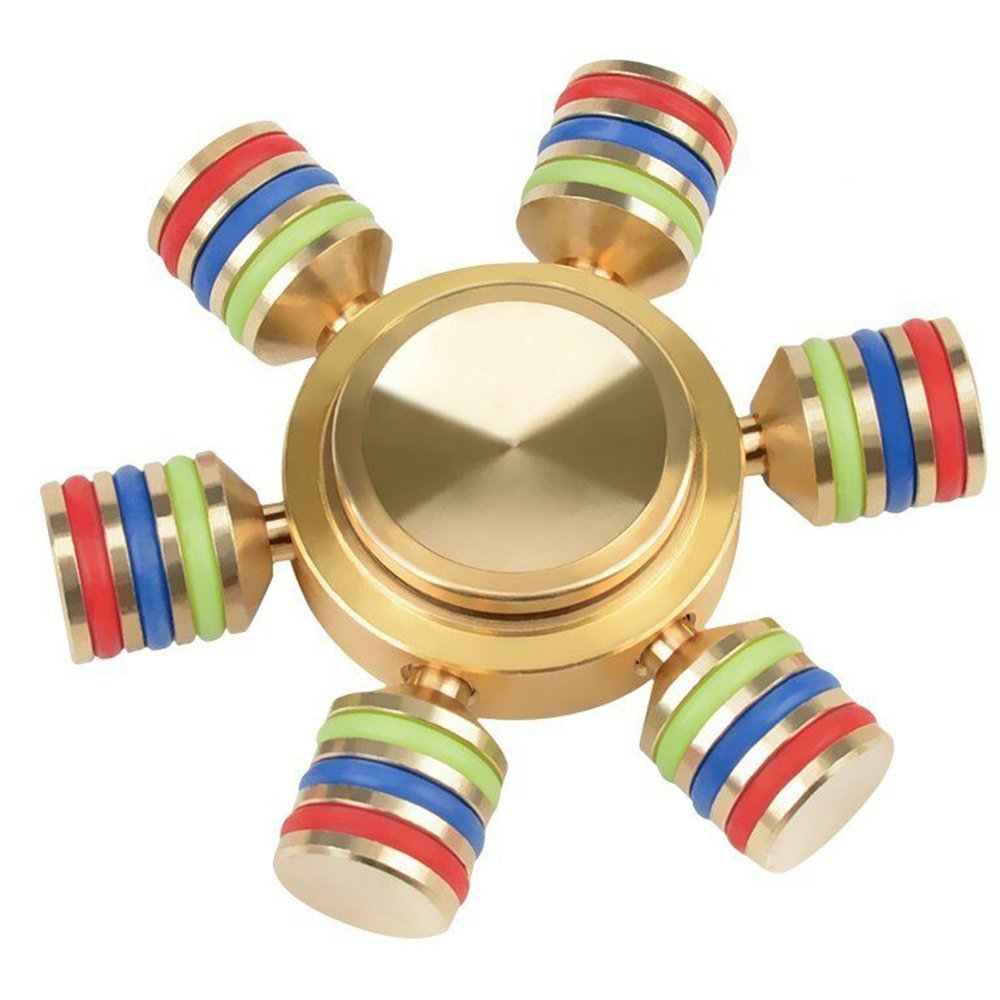 Brass Fidget Spinner Toy with Stainless Steel Bearings Grow in Dark,360 6 Sided Anti Fidgets Spinners Toys