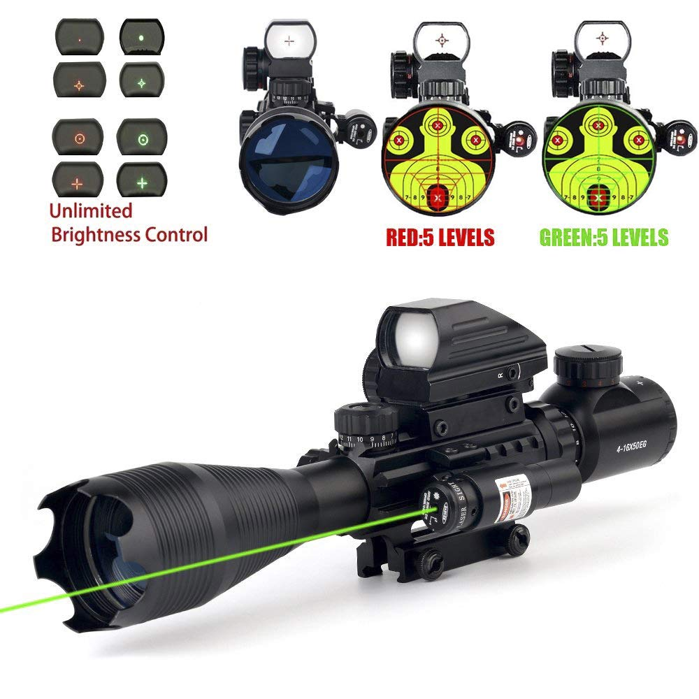 THEA 4-16×50 Tactical Rifle Scope Red Green Illuminated Range Finder Reticle W RED Green Laser and Holographic Reflex Dot Sight 12 Month Warranty