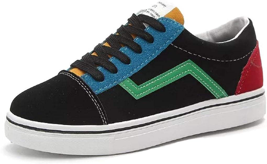 Minetom Sneakers Mujer Casuales Hombres Unisex Plataforma Zapatos Cómodos Couple Bloque De Color Alpargatas con 4 Color Cordones