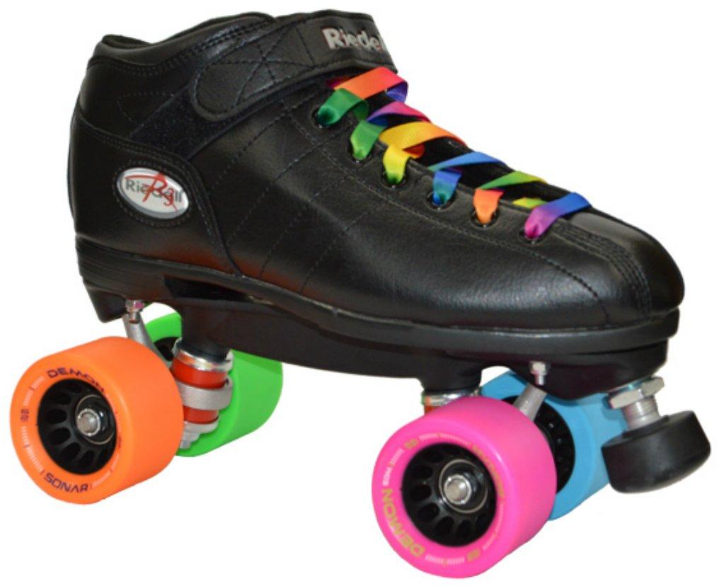 Riedell R3 Rainbow w/ Demon EDM Quad Roller Derby Speed Skate w/ 2 Laces (Rainbow & Black) (Mens 6)