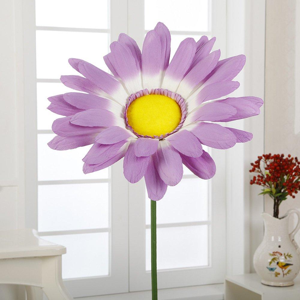A-408 21'' Paper Giant Daisy with Stem(Lilac, 6pcs) by Flora Bunda