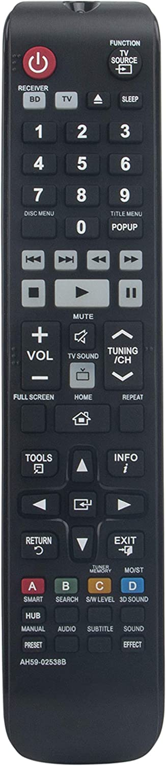 AH59-02538B Replaced Remote fit for Samsung 3D Blu-Ray Home Theater HT-F9730 HT-F9730/W HT-F9730W/ZA TM1251N HTF9730W HT-F9730W HT-F9730WZA