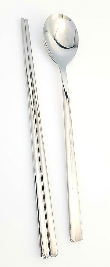 "Chopsticks /& Chopstick Holders Stainless Steel 1 Set Korean Style Metal Spoon /"""
