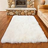 Piel de Imitación,Cozy sensación como real, excelente piel sintética de calidad alfombra de lana - 50 x 150 cm (Blanco, 50 x 150cm)
