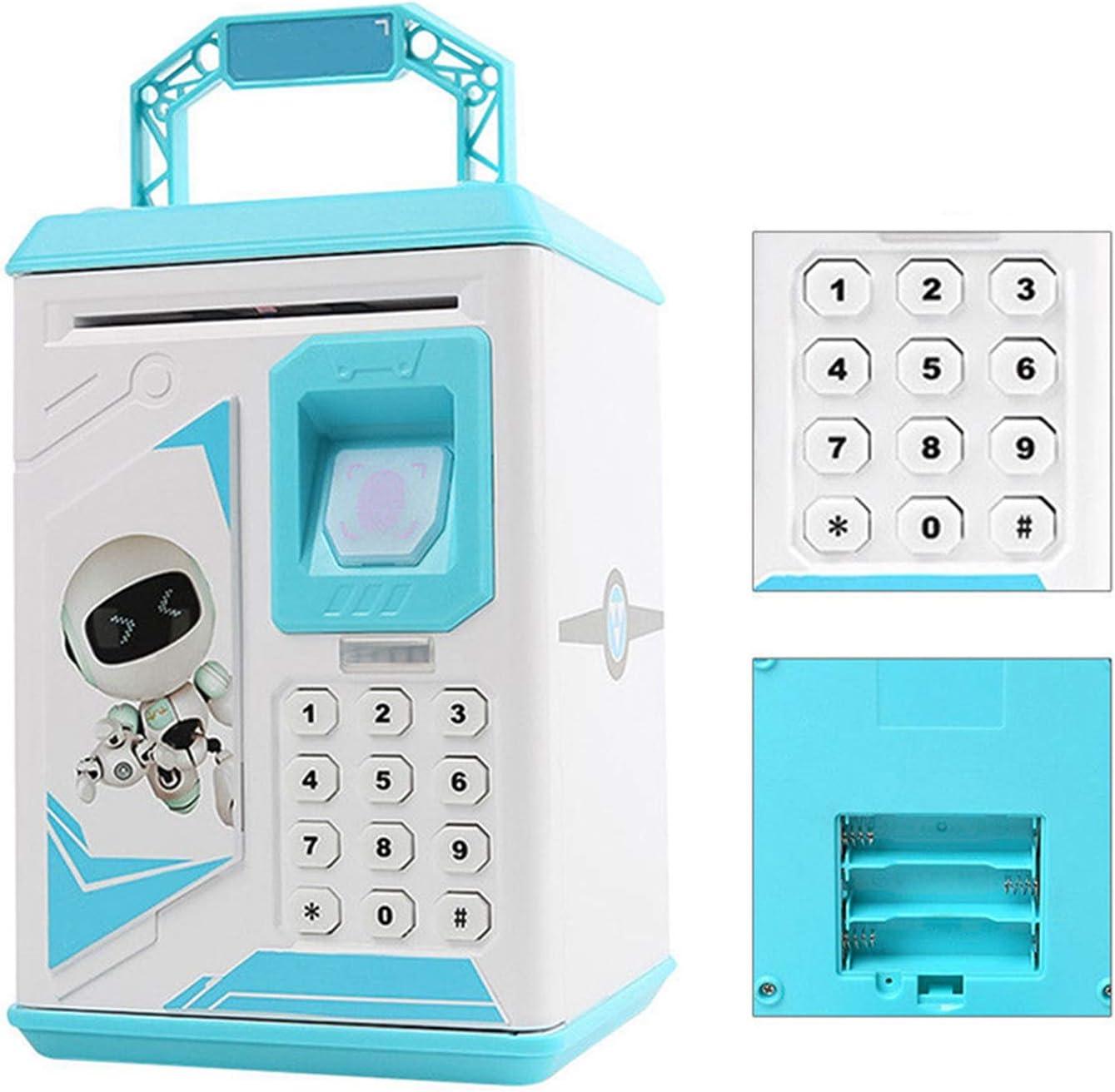 WOVELOT Electronic Piggy Bank Atm Password Fingerprint Money Box Cash Coins With Music,Pink